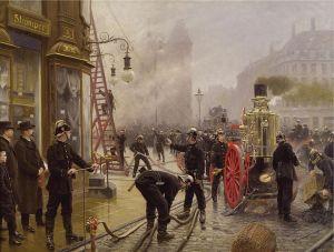 """Paul Gustav Fischer, """"A fire on Kultorvet"""" c.1900"""